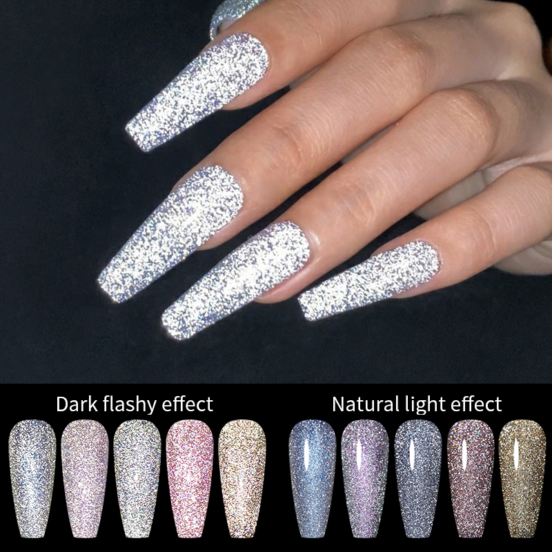 BORN PRETTY Gel Polish Reflective Top Glitter Cat Magnetic Gel Sparkling Holo Laser Soak Off Semi-Permanent Varnish For Nail Art