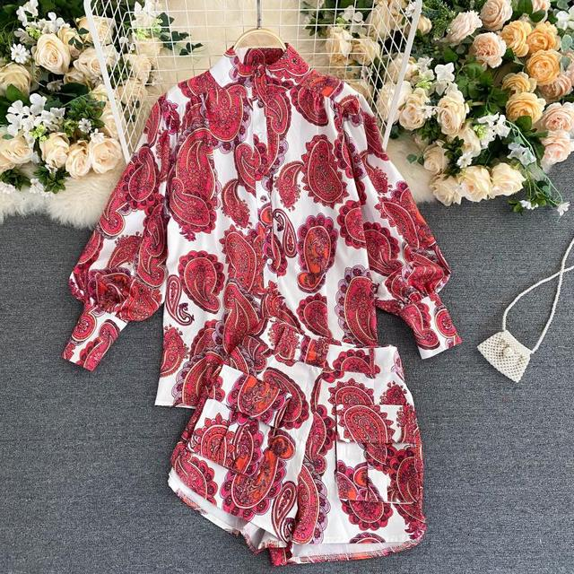 Fitaylor Spring New Women Retro Print Shirt Wide Leg Short Suit Lady Vintage Floral Lantern Sleeve Sashes Two Piece Sets 2