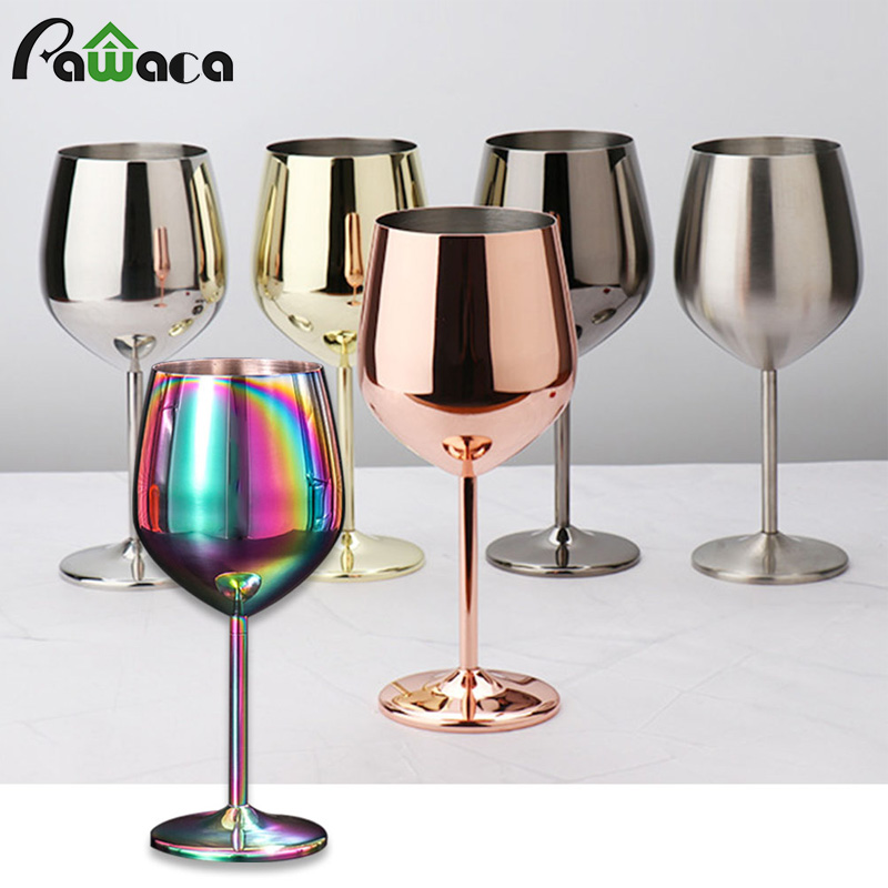 500ml 304 single layer red wine glass color stainless steel large capacity bucket drop resistant wine cup