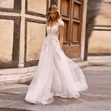 Boho Wedding Dress O-Neck Appliques Lace Cap Sleeves A-Line Tulle Open Back Beach Wedding Gowns 2020 Custom Made Bride Dresses smileven a line lace wedding dress boho lace bride dresses o neckline floor length wedding gowns custom made