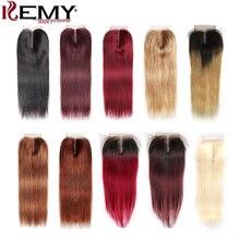 4*4 бразильские кружевные закрывающие волосы KEMY не Реми прямые человеческие волосы бесплатно/Средняя/три части швейцарское кружево Закрытие