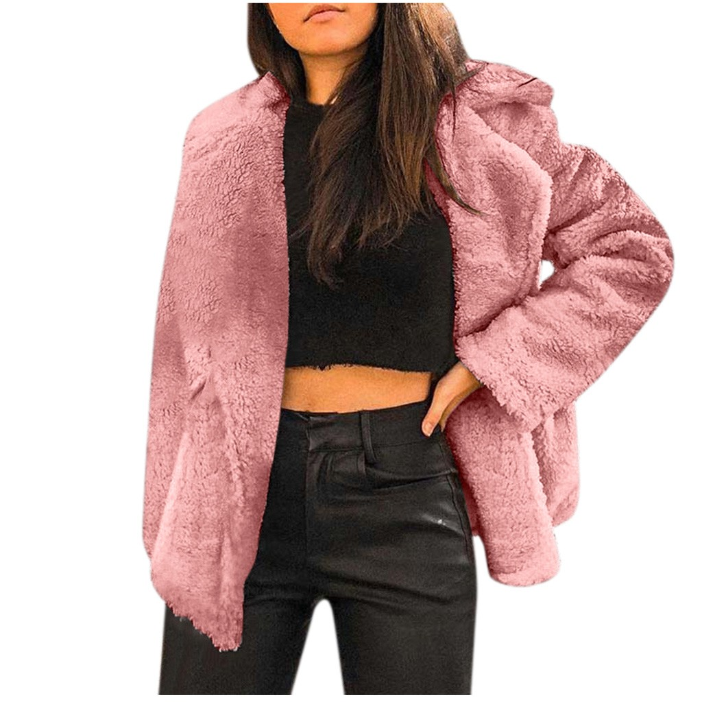 Women's Soft Warm Plush Jacket Women Winter Turn-down Collar Fleece Lady Coats 2020 Autumn Streetwear Female Outerwear #926