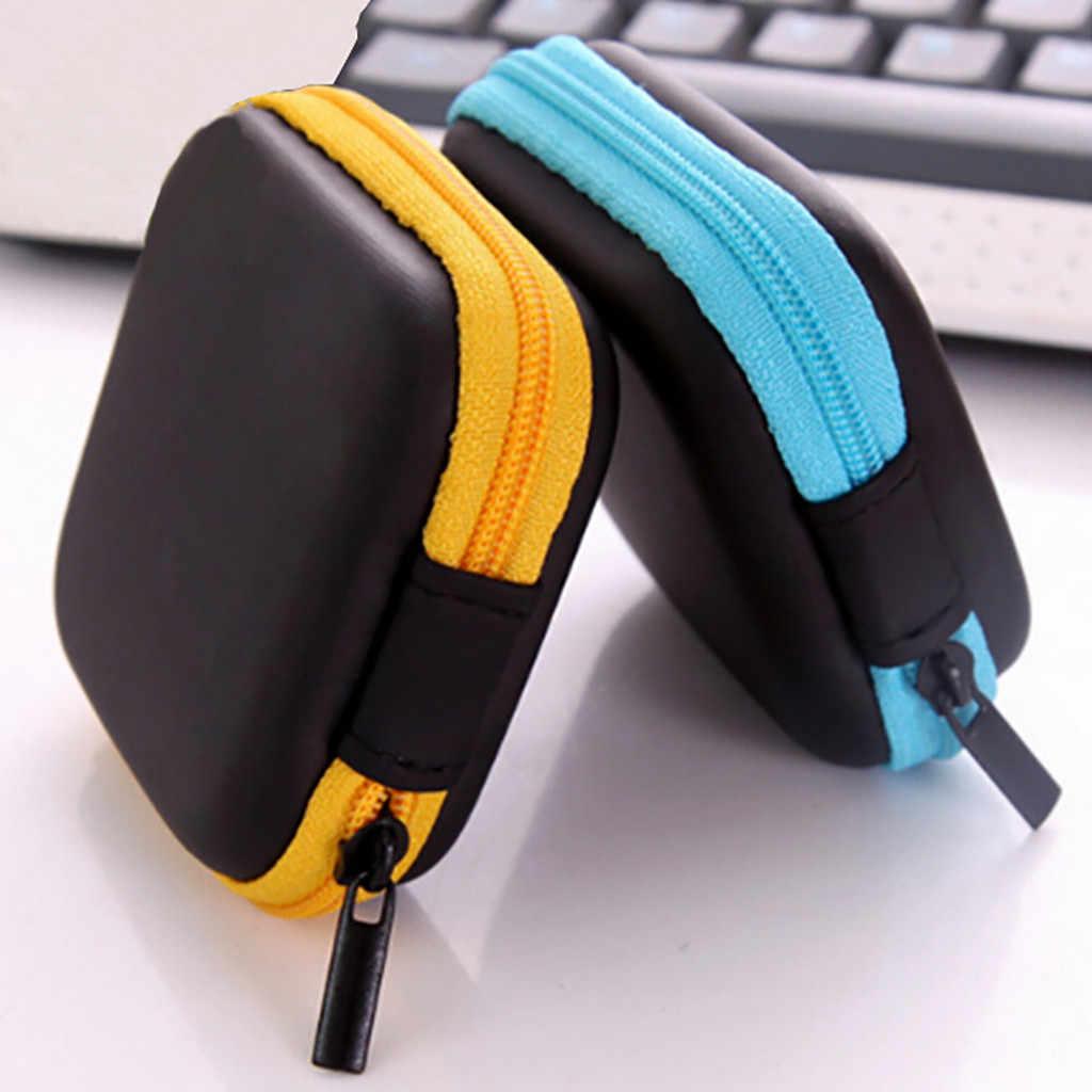 דיגיטלי אחסון תיק מיני רוכסן קשה עור אוזניות אחסון שקית אוזניות פאוץ תיבת נייד נעילת מיקוד ארגונית מקרה