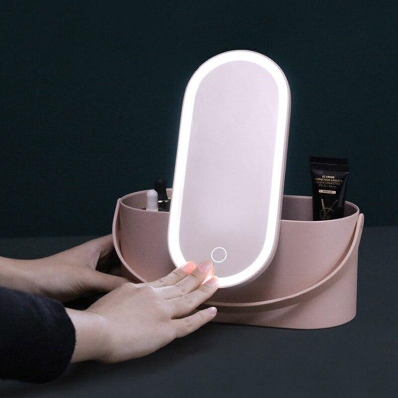 caso de maquiagem de viagem portatil caixa de armazenamento organizador de cosmeticos com led iluminado espelho