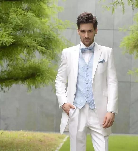 Wedding Men Suits Groom Wear Tuxedos 3 Pieces (Jacket+Pants+Vest) Bridegroom Suits Best Man Prom Blazer Costume Homme