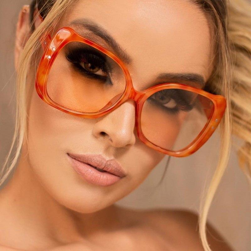 Mode Transparent Orange Gläser Rahmen Frauen Retro Vintage Niet Rahmen Klar Linsen Platz Übergroßen Glas Rahmen Oculo De Neue