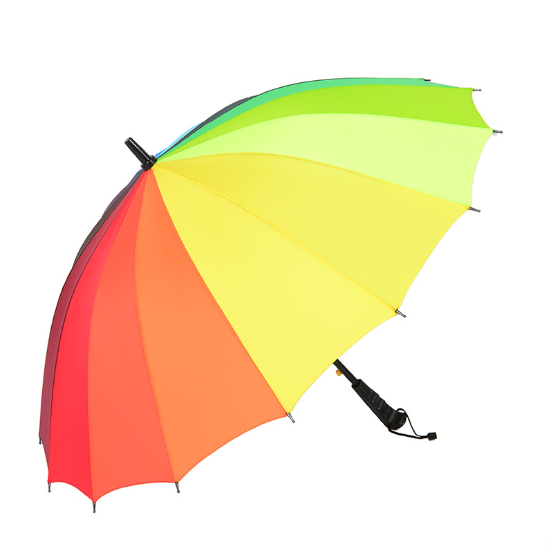 Manufacturers Direct Selling 16 Bone Rainbow Long Handle Straight Pole Rain Or Shine Umbrella Business Style Parasol Rain Or Shi