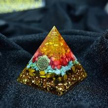 Orgone – pyramide de générateur d'énergie, régénération de la richesse, cristal rouge jaune, Transport Feng Shui de produits de meubles Orgonite