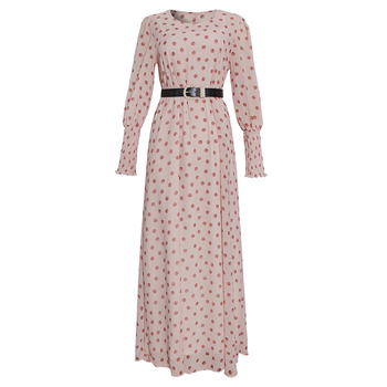 MD African Print Polka Dot Maxi Dresses Women Long Sleeve Chiffon Dress Underdress 2 Pieces Set New Muslim Fashion Evening Gowns - Pink, XXL