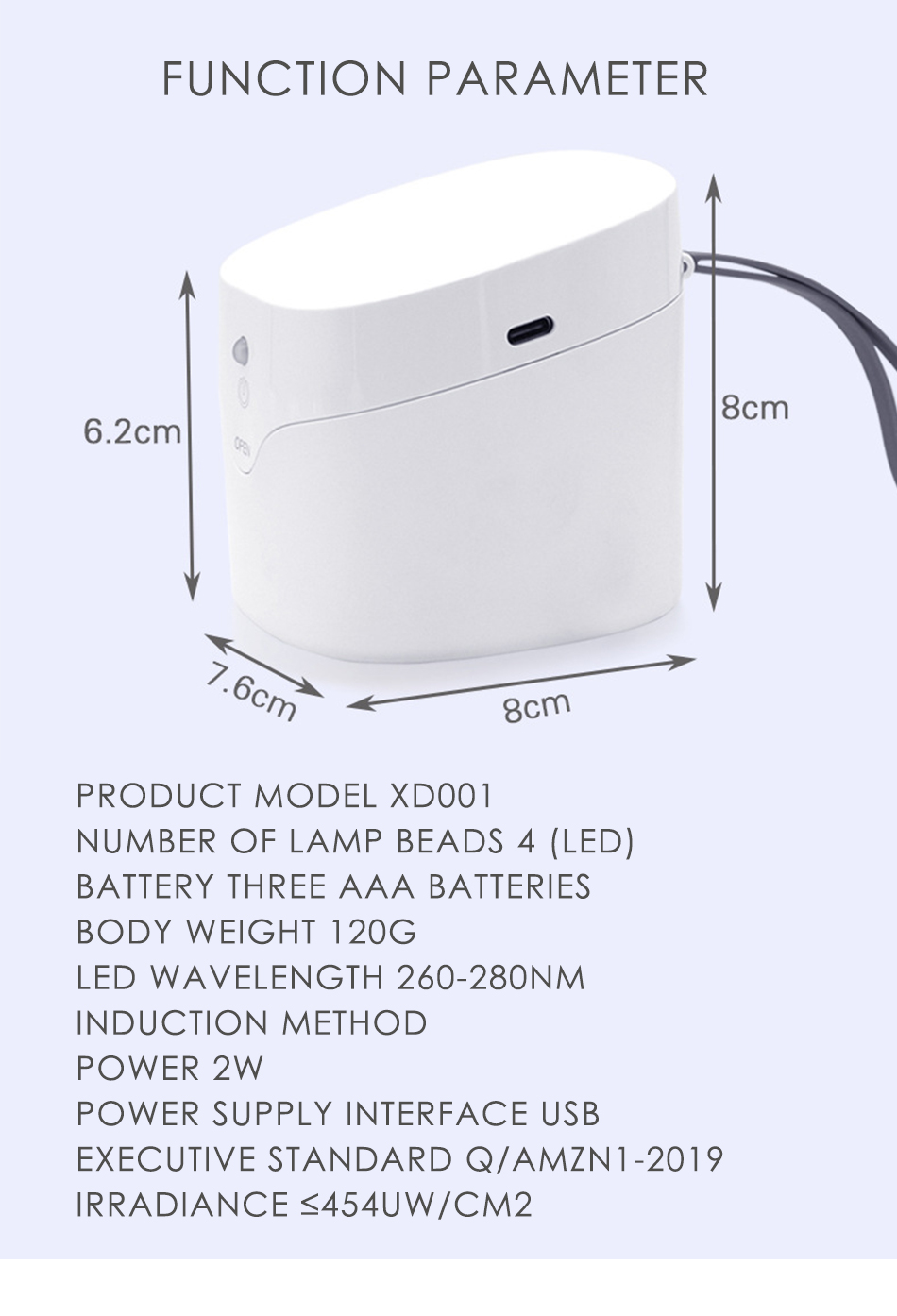 Portable UV Light Sterilizer Box Anti Bacteria Ultraviolet Personal Disinfection Cabinet