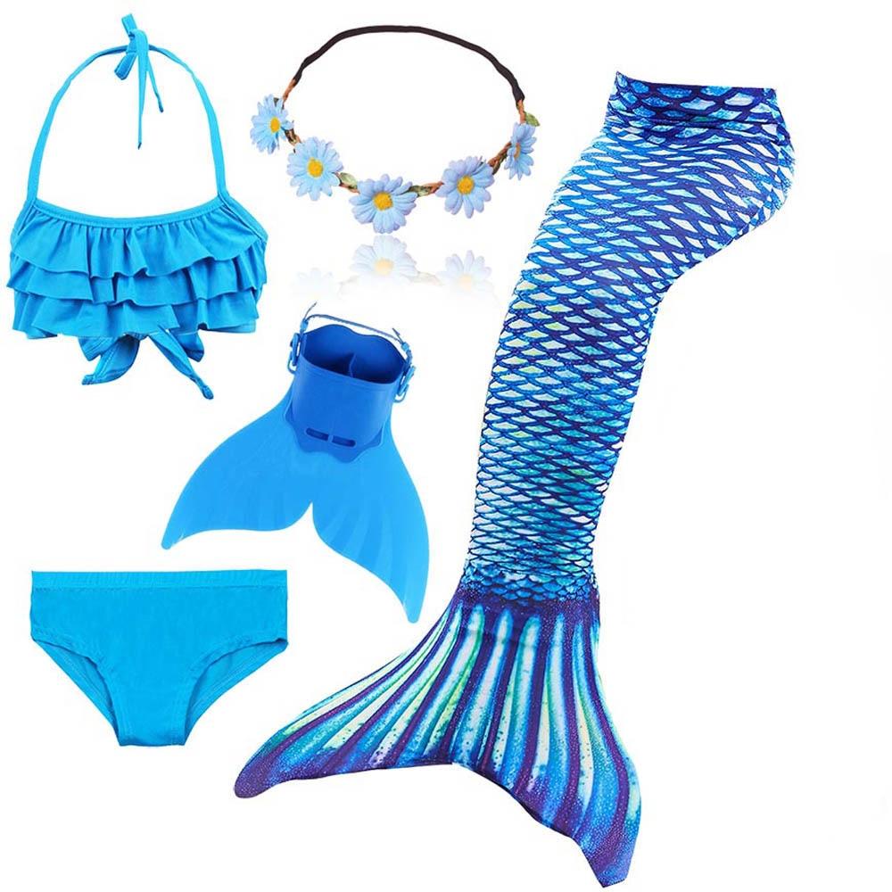 Mermaid Tail Cosplay Costume Girls Swimming Mermaid Wigs Swimsuit With/No Monofin Flipper Kids Swimmable Children Swimwear Set