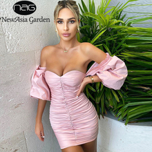 Сексуальное вечернее платье NewAsia Garden с открытыми плечами, женское платье с вырезом сердечком, рукавами фонариками и оборками, облегающее розовое платье