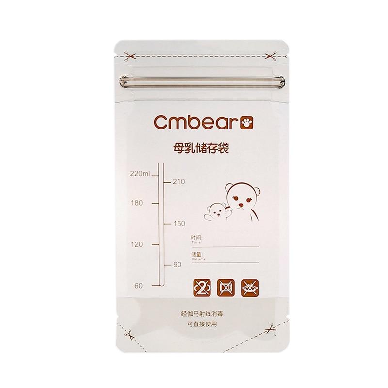 CMBear 50Pcs 220Ml Breast Milk Storage Bags Disposable Baby Liquid Food Fresh Sealed Bags Portable Infant Feeding Pouchs
