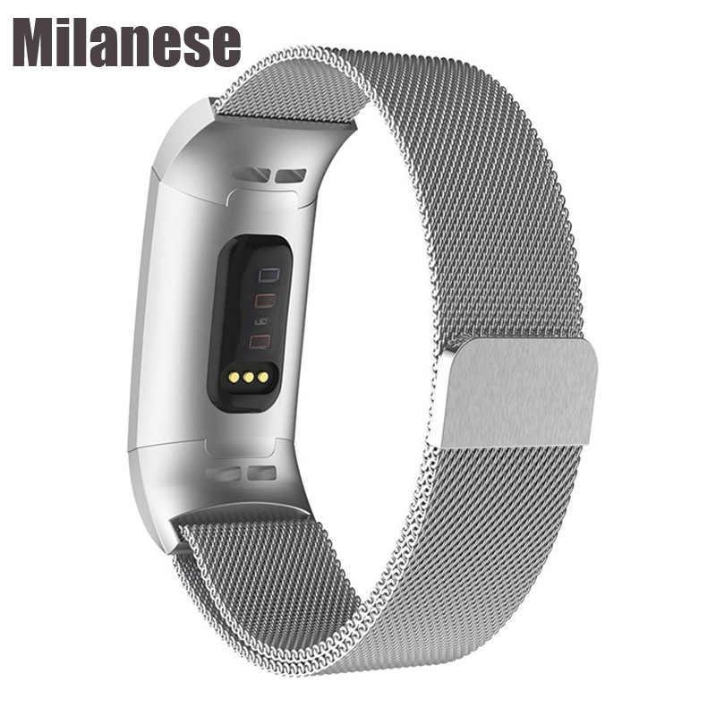 Milanese mıknatıs kayışı Fitbit şarj için 3 şarj 4 sıkılaştırma bandı paslanmaz çelik spor saat kayışı yedek Metal bilezik