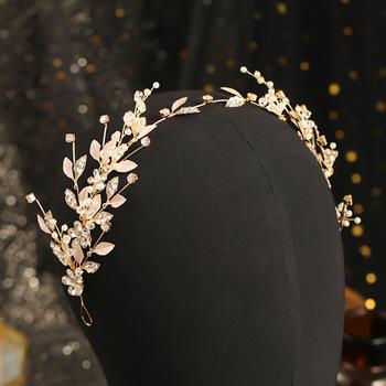 Koreański moda opaski dla kobiet kwiat liść z kryształami perły Hairbands kolczyki komplety biżuterii dla panny młodej Noiva Wedding FORSEVEN tanie i dobre opinie Ze stopu cynku CN (pochodzenie) Kobiety Metal TRENDY Zestawy biżuterii dla nowożeńców 50941 Party PLANT