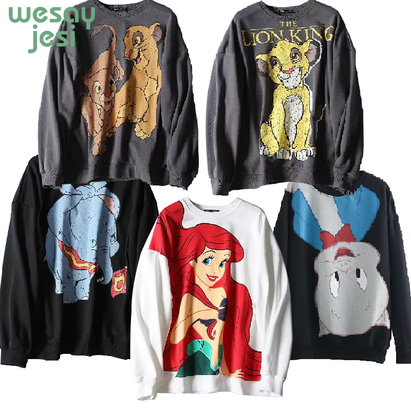 Sweatshirt Women Clothing The Lion King Pullover Streetwear Character Dumbo Print 2019 O Neck Long Sleeve Oversize Sweatshirts