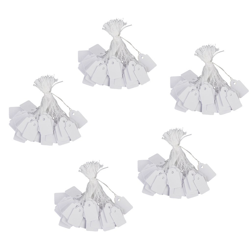 Jewelry Clothes Label Tie String Price Tag 13 X 26mm Pack Of Approx.500Pcs White