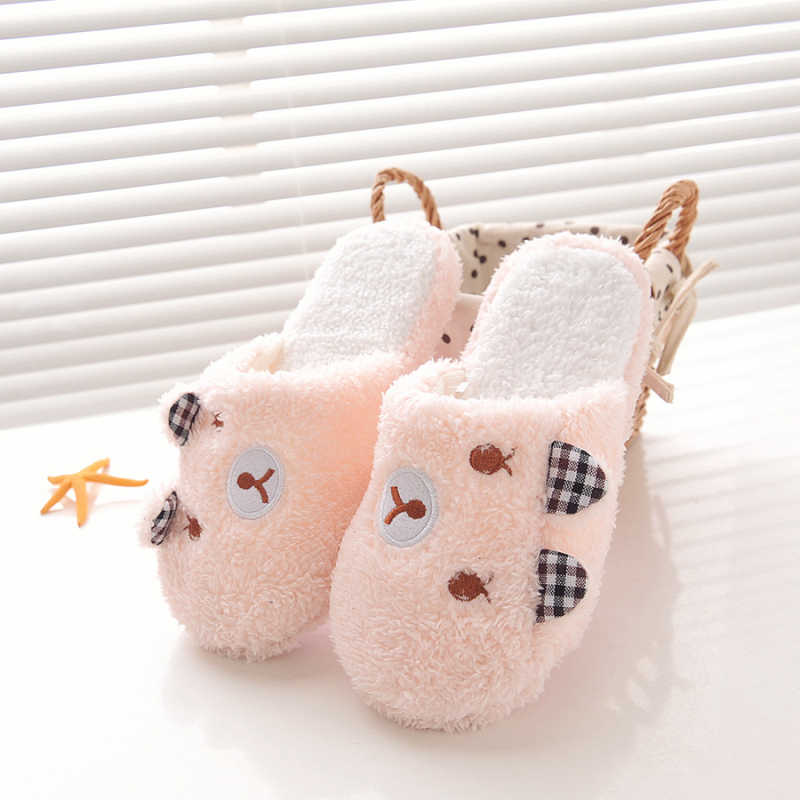 Winter Vrouwen Slipper Home Schoenen Voor Vrouwen Chinelos Pantufas Adulto Mode Mooie Beer Varken Indoor Huis Slippers Met Bont