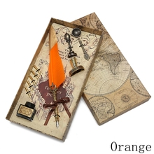 Christmas vintage exquisite gift set feather dip pen office calligraphy set feather pen