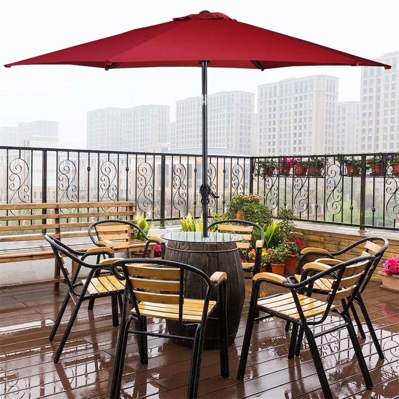 New Brand 10 ft 6 Ribs Patio Umbrella with Crank High Quality Steel Tilt Sun Tent Rain Shelter UV Protection Beach Umbrella