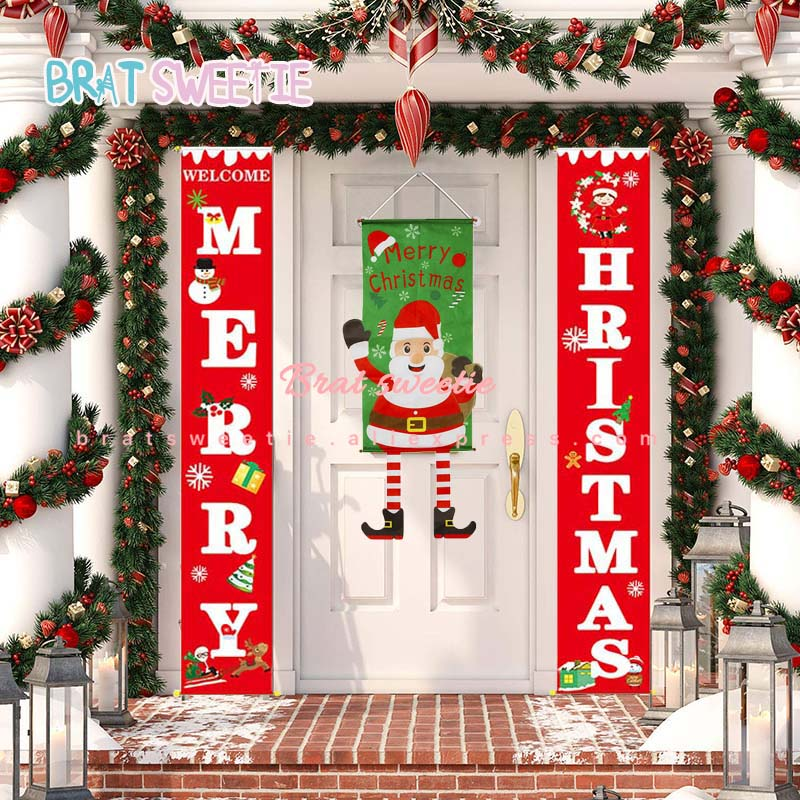 Hanging Pendant Merry Christmas Outdoor Porch Banner Xmas Ornaments Home Decors