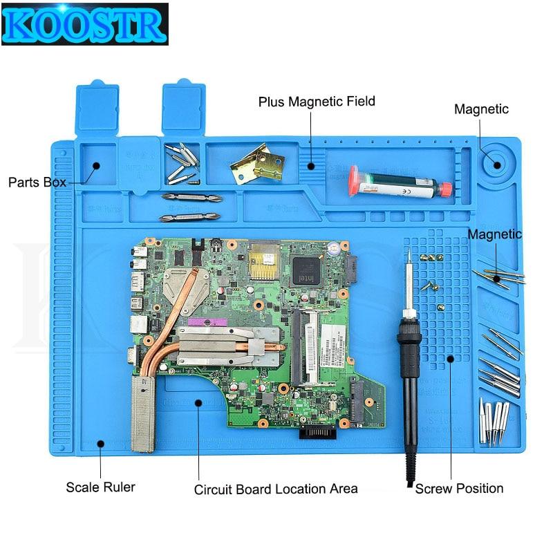 Magnetic Heat Insulation Silicone Pad Desk Mat Soldering Repair Maintenance