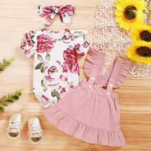 3Pcs Newborn Girl Clothing Set Floral Print Short-sleeved Tops +Solid Color Strap Dress+Headband Infant Baby Clothes Set cheap COTTON Polyester Maternity 0-6m 7-12m 13-24m CN(Origin) Summer Baby Girls European and American Style O-Neck Sets Pullover