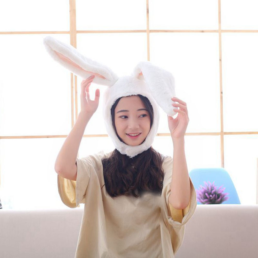 Halloween Party Cosplay Women Girls Long Bunny Ears Cap Cosplay Beanie Plush Hat Bunny Ears Hat Rabbit Headgear