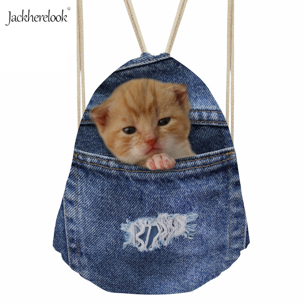 Jackherelook Girls Drawstring Bags Blue Jeans Design Backpack For Teenage Girls Ladies Cowboy Cat Bulldog Dogs Gym Storage Pouch