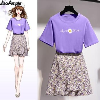 Girls Korean Sweet Daisy Print T-shirt Skirts Set Women Summer Cozy Cotton Short Sleeve Mini Dress Suit 2021 Fashion Clothing 1