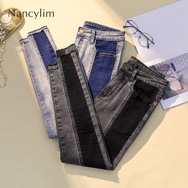 Mode femme couleur Patch jean crayon pantalon Slim Slim Stretch Denim pantalon grande taille ajustement 4XL jean