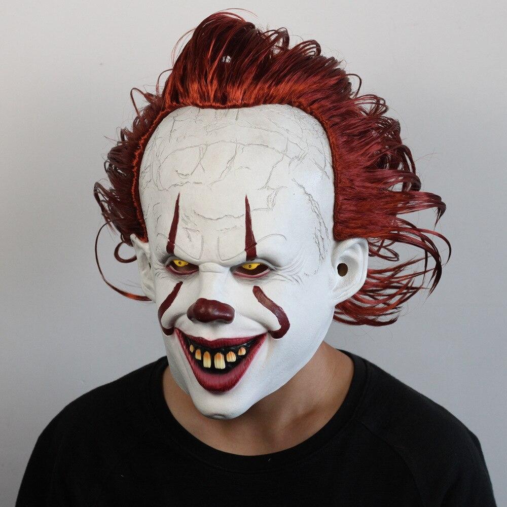 Image 2 - Джокер Pennywise светодиодная маска Хэллоуин маска для вечеринки Костюм Опора Маска ужаса латексная страшная для вечеринки реквизит маска на Хэллоуин-in Маски для вечеринки from Дом и животные