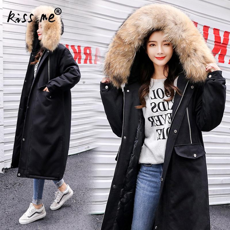 Mid-Long Thermal Winter Down Jacket Fashion Casual Hooded Down Coat Solid Windproof Cotton Clothing Warm Parkas Long Style Suit