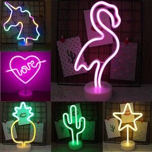 USB LED Neon Sign Light Holiday Flamingo Night Light Xmas Party Wedding Decoration Night Light Home Gift Unicorn Heart Neon Lamp