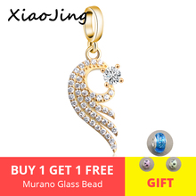 Fit authentic pandora charm Bracelets silver 925 original gold color wing pendant beads with CZ diy Jewelry making women gifts