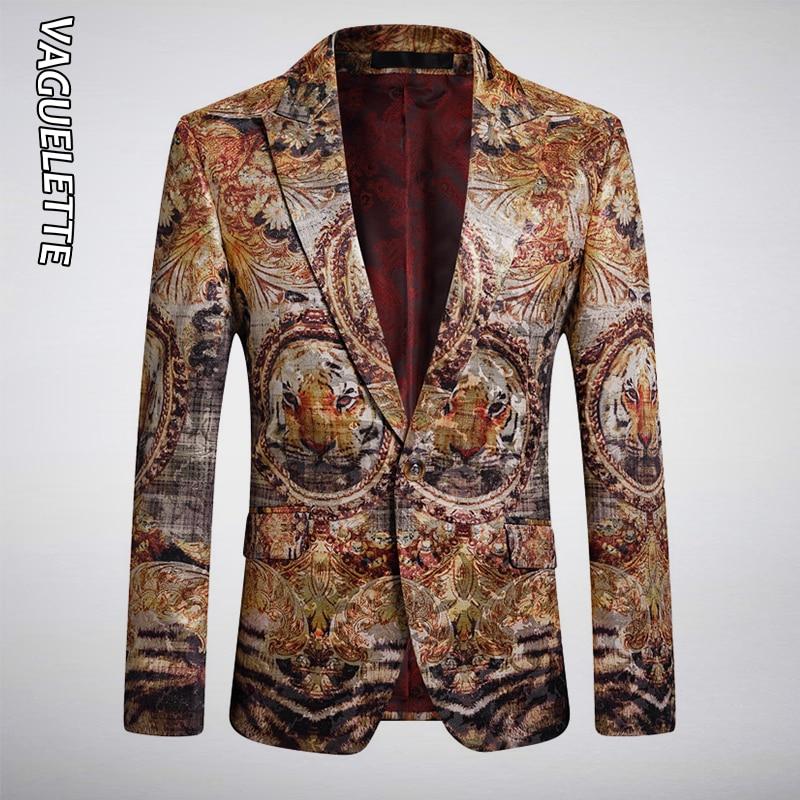 VAGUELETTE Luxury Tiger Pattern Printed Blazers Slim Fit Wedding Stage Club Wear For Singers Blazer Animal Print Jacket Coat