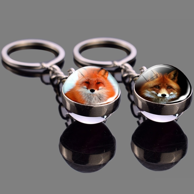 Fox Keychain Glass Ball Pendant Red Fox Stuff Key Rings Animal Key Chain Glass Cabochon Ball Jewelry Men Women Fashion Gifts