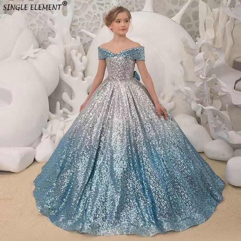 Blue Sequin Flower Girl Dress V-neck Off The Shoulder Princess Toddler Junior Bridesmaid Pageant Gown For Wedding And Party