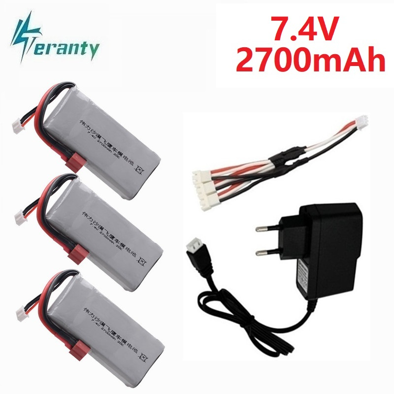 Upgrade 2700mah Battery For Wltoys 12428 12423 RC Four-wheel RC Vehicle Car 7.4v Lipo Battery For Feiyue 03 Q39 RC Parts Charger
