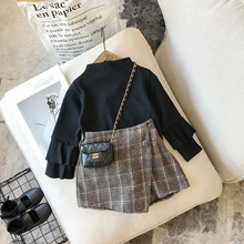 Осенняя клетчатая юбка для маленьких девочек модные детские шорты с эластичной резинкой на талии детские юбки для девочек; bebes От 2 до 7 лет