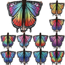 Rainbow Women Butterfly Wings Shawl Fairy Ladies Dance Costume Accessories Adult Monarch Butterfly Cape Costume Hot Sell#G30(China)