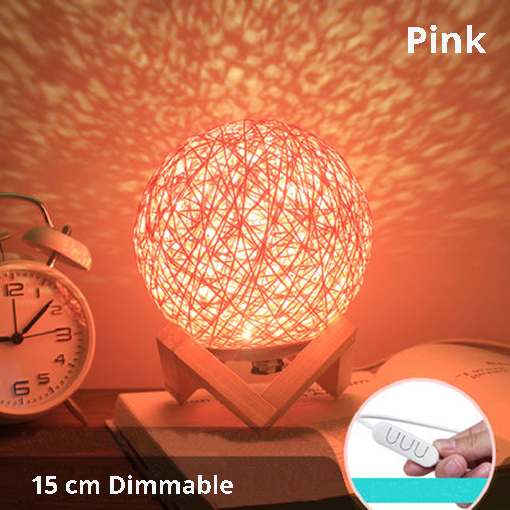 Dropship Solid Wood Rattan Lamp LED Night Light Creative Children Star Gift USB Table Lamp Bedroom Bedside Home Decoration Lamp