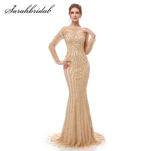 Image 3 - 高級長袖イブニングドレス2021 oネックイリュージョンジッパーエレガントなマーメイドビーズスパンコールウェディングドレスと列車CC5405