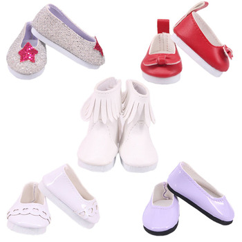 Doll Shoes 5 Cm Leather Canvas Shoes Best sweet Gift For 14.5 Inch Nancy Wellie Wisher For Our Generation Baby Girl`s Toy Gifts image