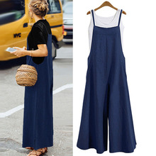 S-5XL Plus Size Women Cotton Loose Jumpsuit Pocket Wide Leg Rompers Strappy Dungaree Bib Overalls Casual Solid Playsuit