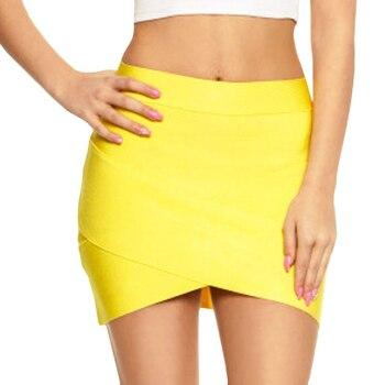 UpAvonu Bandage Rayon Good Elastic White Women Skirts Mini Sexy Slim Pencil Clubwear Suitable Black Gray Rose Green HL135-2 2