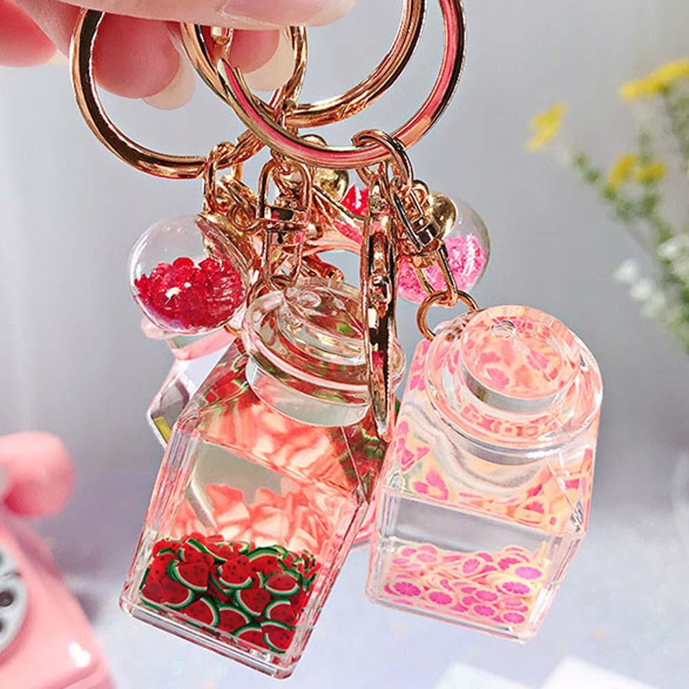 1Pc Hot Creative Popsicle Glitter Key Chain Quicksand Keychain Liquid Floating Fruit Keyring Backpack Pendant Gift For Women