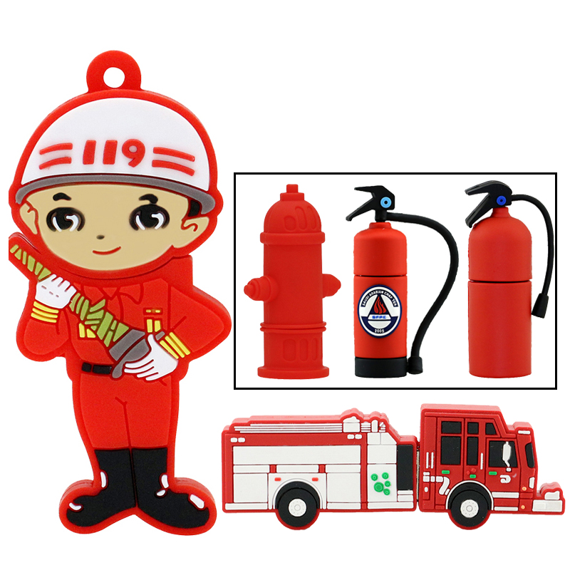 Pen Drive USB Flash Drives 8GB Fireman Extinguisher Fire Engine Pendrives 32GB Personalized 4GB 16GB Memory Stick USB Disk Gifts
