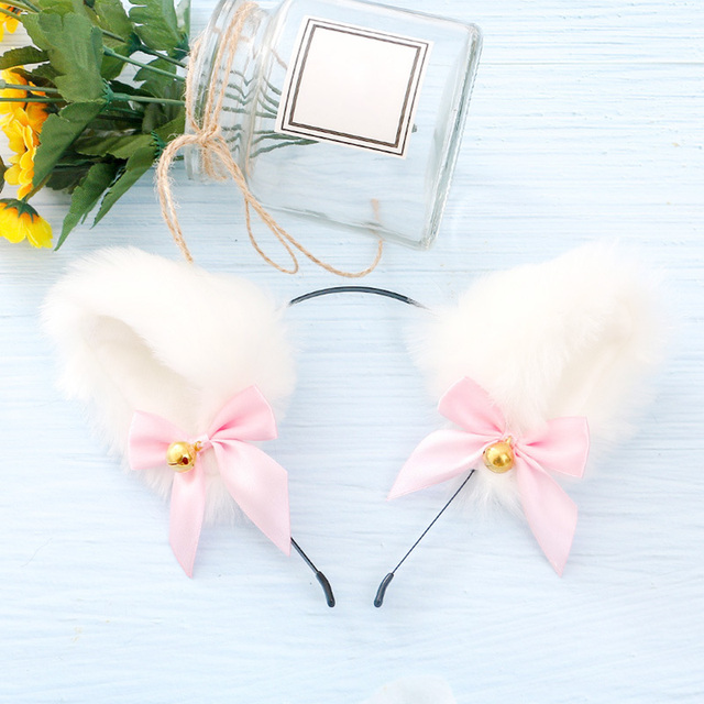 15 Colors Beautiful Masquerade Halloween Cat Ears Cosplay Cat Ear Party Costume Bow Tie Bell Headwear Headband Hair Accessories 4