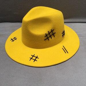Image 1 - Sombrero de fieltro de lana para hombre y mujer, sombrero de fieltro de lana amarilla, de ala ancha, informal, negro, con cordones, para Otoño e Invierno